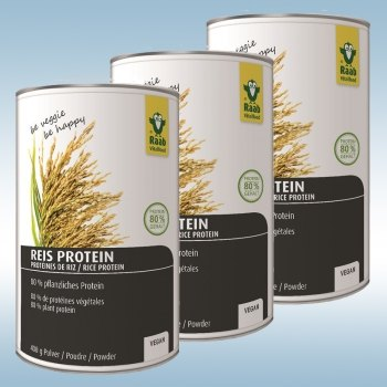Rice Protein Powder (3x 400 g) - 80% vegetable protein content